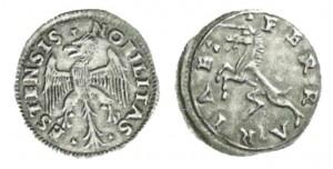 2 soldi di Ercole I d'Este, Ferrara. Al rovescio unicorno rampante