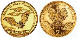 2 zlote 2010 in lega gold nordic (8,15 g, 27 mm) Polonia, Rhinolophus hipposideros