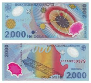 2.000 lei 1999 Romania, eclissii solare totale