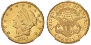 20 dollari 1872 in oro con motto (tipo II 1866-1876), Carson City (da ngccoin.com)