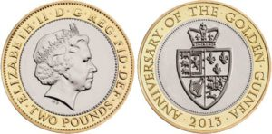 2 sterline 2013, 350 anniversario della ghinea d'oro