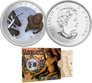 25 centesimi 2011 Canada con Sasquatch