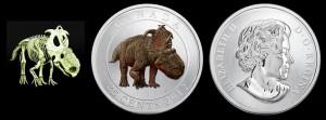 25 cents 2012 in rame e nichel (Pachyrhinosaurus), Canada.