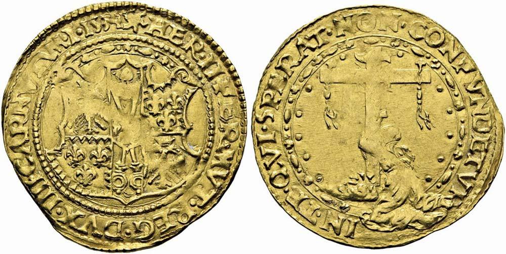2579. Ferrara, Ercole II d'Este (1534-1559), scudo d'oro 1534.