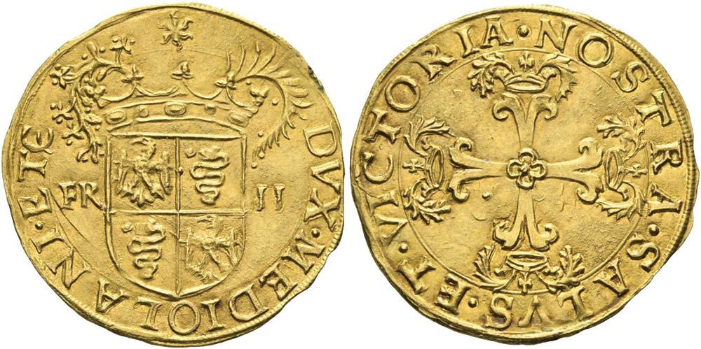 2587. Milano, Francesco II Sforza (1521-1535), scudo d'oro.