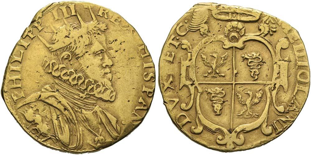 2588. Milano, Filippo III (1598-1621), quadrupla 1617.