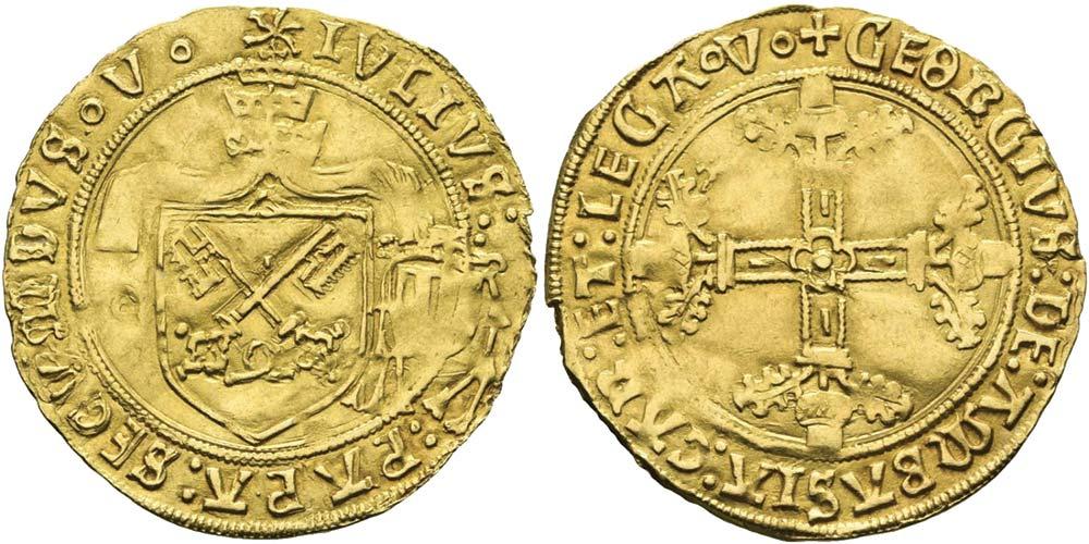 2623. Stato Pontificio, Giulio II (1503-1513), scudo d'oro, zecca di Avignone.