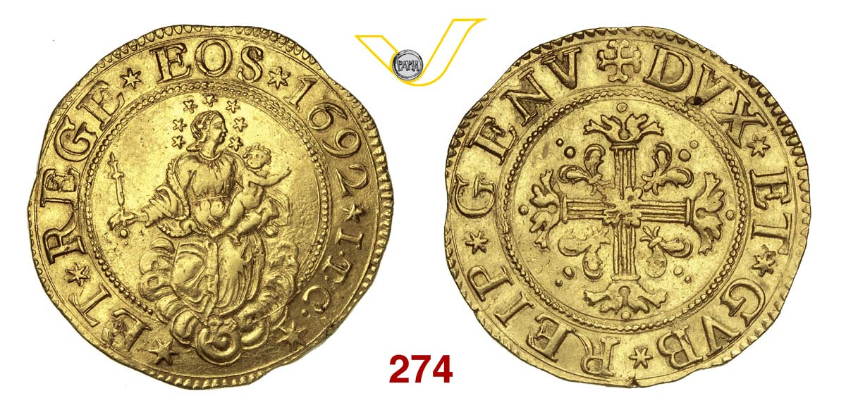 GENOVA DOGI BIENNALI, III fase (1637-1797) Da 5 Doppie 1692