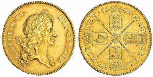5 ghinee 1668 di Carlo II (ex spink 15031)
