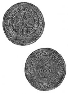 3 baiocchi repubblica romana 1849