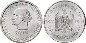 3 Reichsmark 1931 in Ag, Repubblica di Weimar