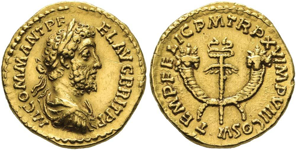 321. Commodo (180-192), aureo. Ric 214, Calicò 2235 (questo esemplare).