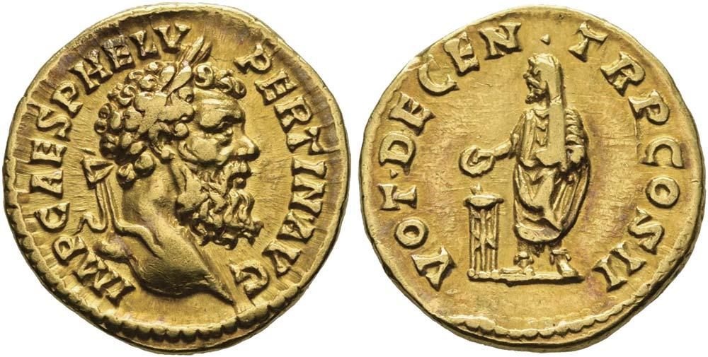 323. Pertinace (192-193), aureo. Calicò 2391a (questo esemplare).