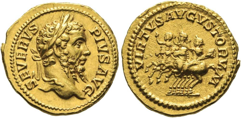 327. Settimio Severo (193-211), aureo. Calicò 2578.
