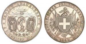 4 franchi 1842 in argento Coire, tiri federali (da asta Monnaies d'Antan 6)