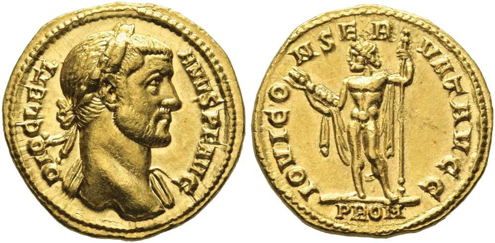 425. Diocleziano (234-305), aureo preriforma.