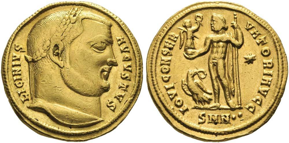 451. Licinio I (308-324), aureo coniato a Nicomedia. Ric 8 (citato questo esemplare). Ex collezione Trau, 1835.