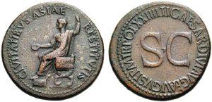 5Sesterzio in bronzo coniato da Tiberio