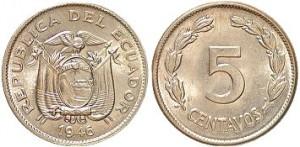 5 centavos 1946 in lega di rame e nichel, Ecuador
