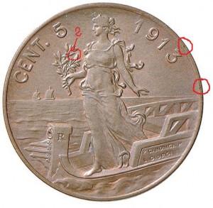 rovescio di un 5 centesimi del 1913