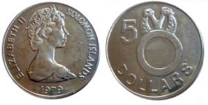 5 dollari 1979 in rame e nichel (40 mm), isole Salomone