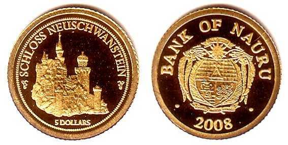 5 dollari 2008 Nauru, castello di Neuschwanstein