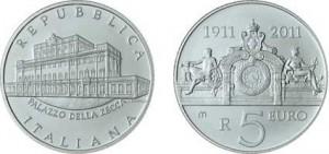 5 euro palazzo della zecca: anniversario 100 anni