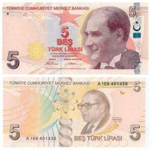5 lire 2009 Turchia, sistema solare, simboli dell'atomo e del DNA
