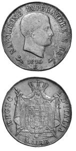 5 lire 1810 Bologna.