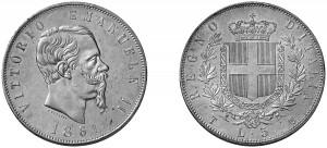 5 lire Vittorio Emanuele II - Regno d'Italia