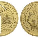 50 dollari 1997 in oro (3,8875 g) Kiribati, Tempora Mutantur
