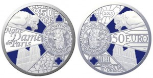 50 euro 2013 in argento (163,8 g, 50 mm) Francia, Notre Dame