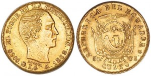 50 francos 1862 in oro (15,88 g), Ecuador (ex asta Heritage 3 gennaio 2010)
