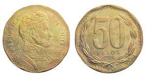 50 pesos 2008  Cile, errore CHIIE