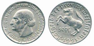 50 pfennig 1921 in alluminio (1,29 g)