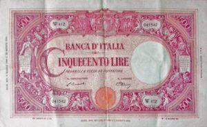 """Biglietto da 500 lire Barbetti Grande C """"transizione"""", decreto 06/06/1946 a firma Einaudi-Urbini"""