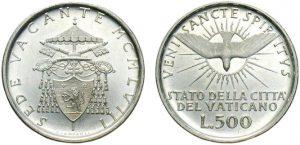 500 lire 1958  Sede Vacante, Città del Vaticano
