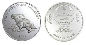 500 tugrik 2001 in argento (Protoceratops), Mongolia