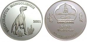 500 tugrik 2001 in argento (Velociraptor), Mongolia