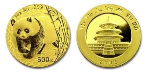 500 yuan 2001 in oro, 1 oncia