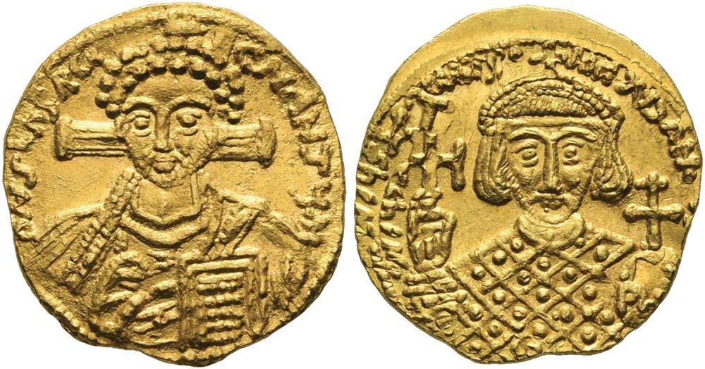527. Giustiniano II (secondo regno, 705-711), solido coniato a Roma (?). Sear manca (cfr. 1439).