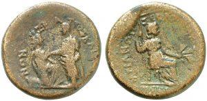 Moneta in bronzo coniata durante il principato di Tiberio