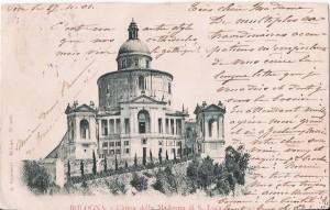 Cartolina postale spedita a Bourges (27 novembre 1901) con l'immagine del santuario della Madonna di San Luca, (collezione dell'autore)