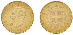 VITTORIO EMANUELE II (1861-1878) 50 Lire 1864