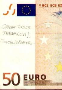 50 euro con scritta