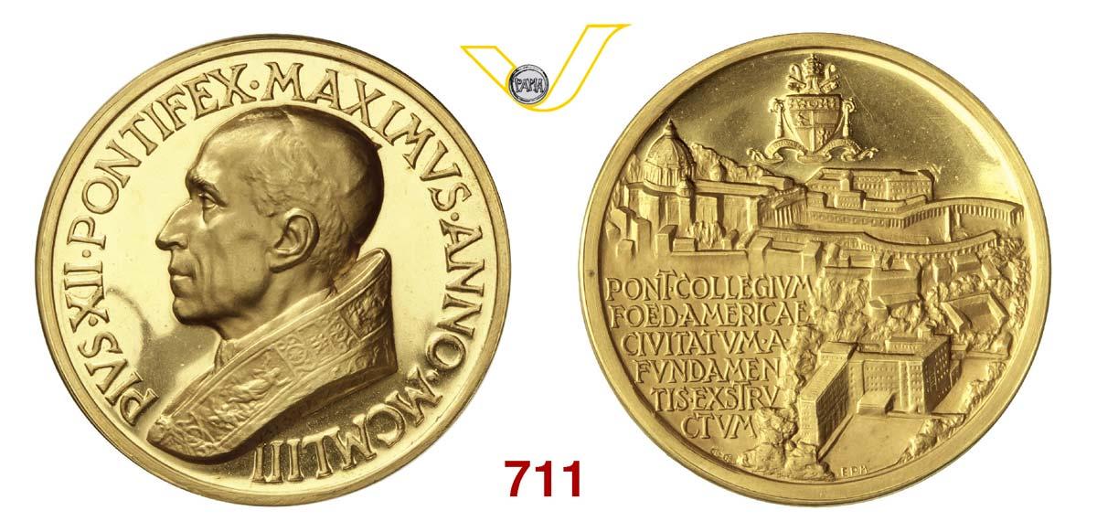 PIO XII (1939-1959) Medaglia d'oro 1953 per il nuovo collegio americano