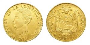 8 escudos 1856 in oro (26,94 g), Ecuador (da coinfactswiki.com)