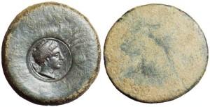 AE 28 Akragas 400 a.C. ca., contromarca testa giovanile, dietro granchio