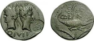 AE Augusto e Agrippa, Nemausus, contromarca DD (decreto decurionum) in cerchio perlinato
