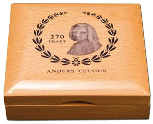 Anders Celsius, cofanetto moneta da 5 dollari isole Cook